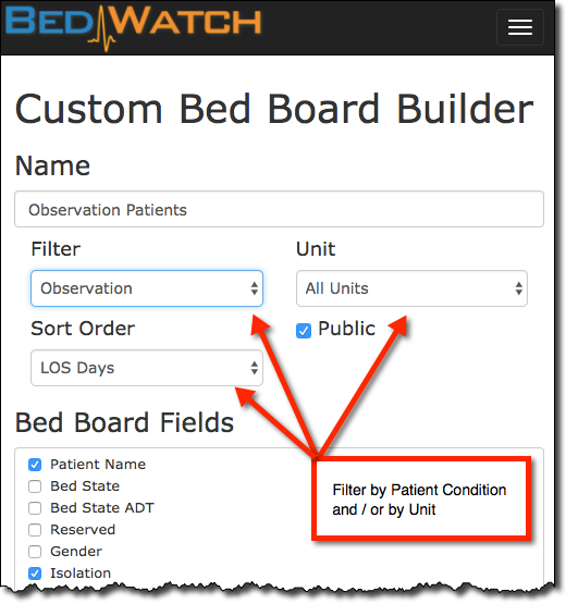Custom Bed Board Builder Filter and Sort.png
