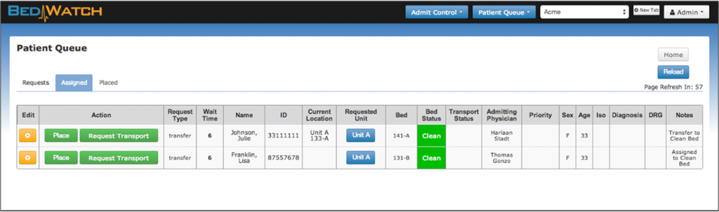 BedWatch Admit Control provides all necessary placement information at users' fingertips.