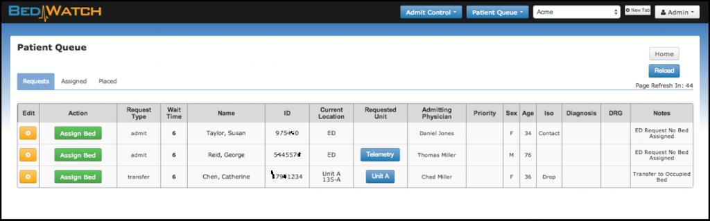 BedWatch Admit Control Patient Admission Queue Screen