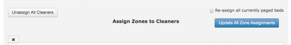Assign Zone to Cleaners screen shot