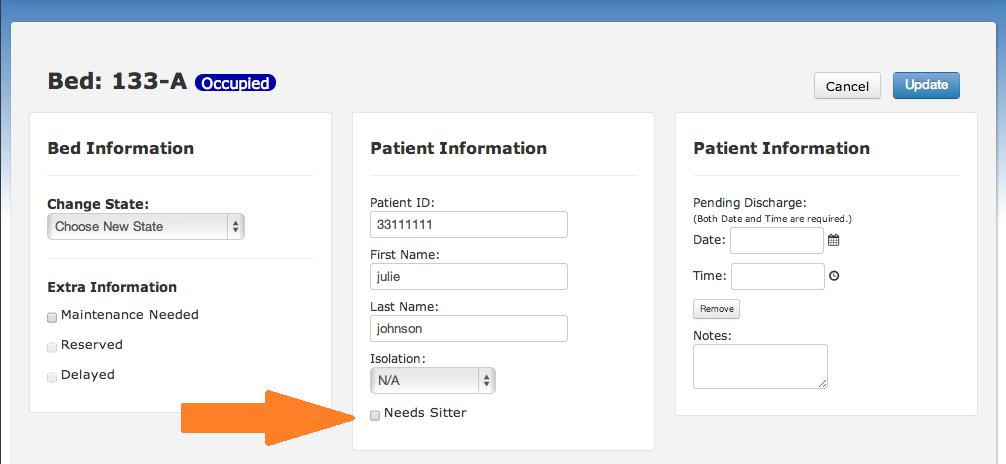 BedWatch Sitter check-box screen shot