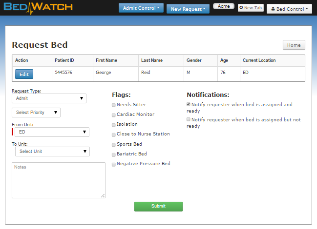 The Admit Control Bed Request screen allows admitting staff to quickly and easily submit bed requests.