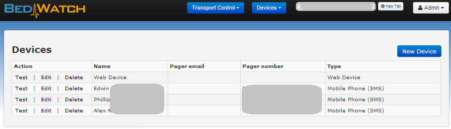 BedWatch Transport Control Devices Mgmt Page Screen Shot