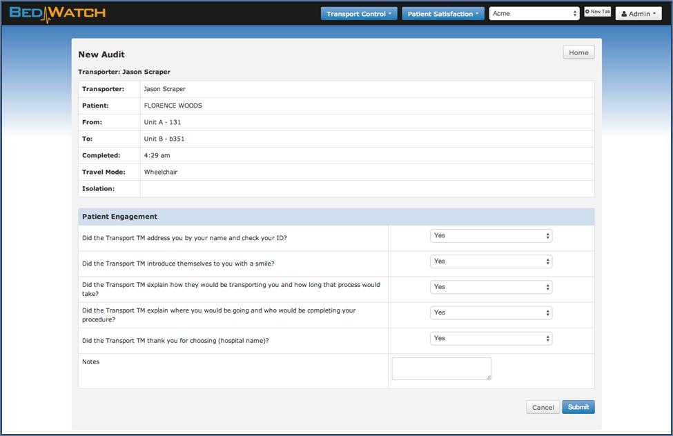 TC Patient Sat audit screen