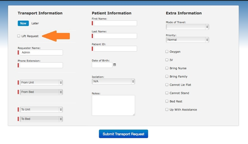 Transport Control Lift Request option