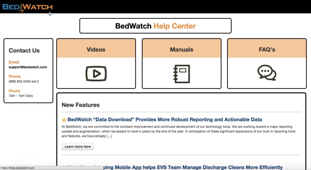 BedWatch Help Site screen shot
